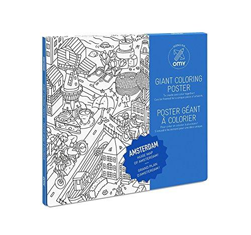Equilibre et Aventure Grand Poster à colorier de la Ville d' Amsterdam Dimensions 100 x 70 cm sur Papier Fort
