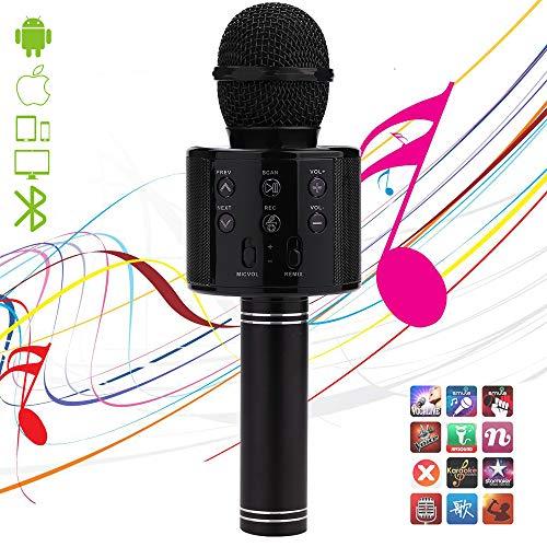 Microfono karaoke senza fili, Bluetooth karaoke, 4 in 1, portatile, lettore karaoke, con funzione di registrazione, compatibile con dispositivi Android e iOS per KTV, feste, canto per bambini, Nero