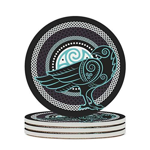 KittyliNO5 Posavasos redondos de cerámica con diseño de cuervo vikingo Odin (4/6 unidades)