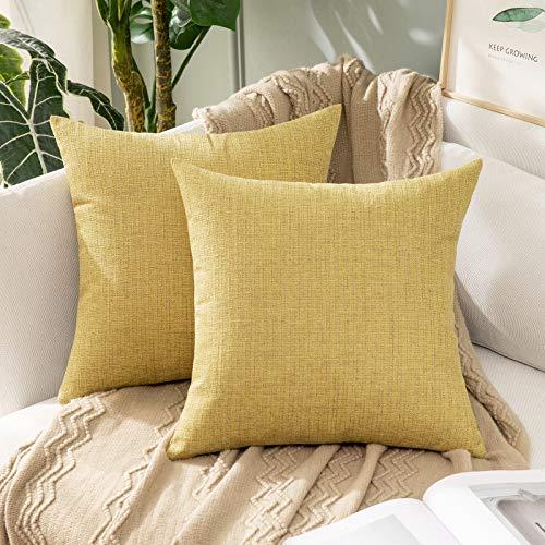 MIULEE 2 Piezas Funda de Cojines Imitación de Lino Funda de Almohada Color Sólido Cremallera Invisible para Sofá Cama Decorativas Modernas para Sillas Habitación Dormitorio 45x45cm Jengibre