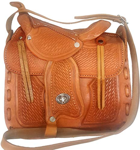 Modestone Leather Shoulder Bag Decorative Saddle Shape 10' x 9' x 3 1/2'