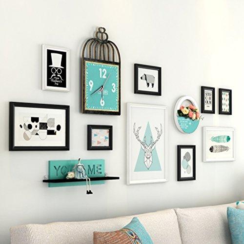 AXZPQ fotolijstje muur opknoping Multi fotolijstset eenvoudige moderne woonkamer slaapkamer bevatten klok en plank
