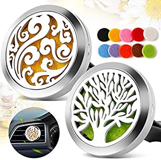 TT-Star 2PCS 30mm Car Diffusers Aromatherapy Essential Oil Diffuser Vent Clip - Cloud, Tree of Life Stainless Steel Locket