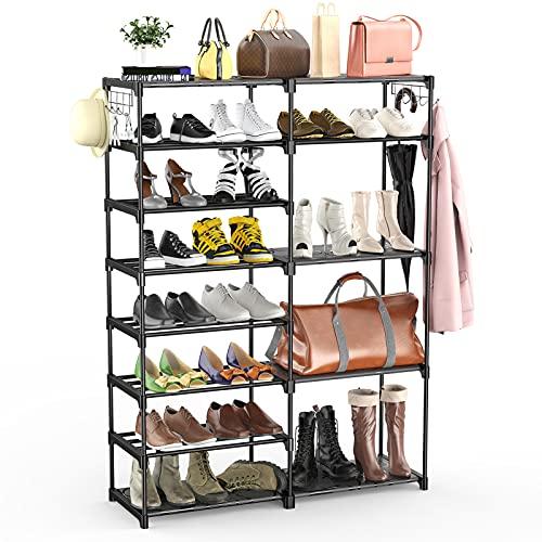BASSTOP 8 Tiers Shoe Rack, Stackable Shoe Tower Organizer Non-Woven Fabric, Durable Boot Shoe Shelf Storage, 26-30 Pairs, Black