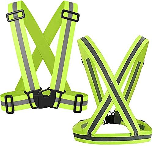 2 piezas Chalecos de seguridad reflectantes para ciclismo Motocicleta, cinturón de cintura de seguridad de alta visibilidad elástica ajustable en la noche para correr al aire libre, caminar Cuatro est