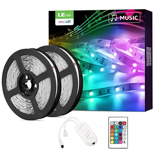 LE LED Strip 10M(2x5M), Alexa LED Streifen mit Musik, IP20 Smart RGB Lichtband [nur 2.4GHz] WiFi LED Leiste Lichterkette für Haus, Küche, Party, TV, LED Band Kompatibel mit Alexa, Google Home