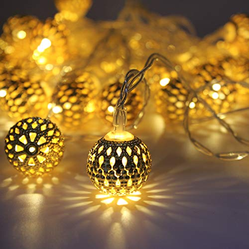 Indoor String Lights, LED Battery Powered Moroccan Lights String, 40 Golden Decorative Globes, Bright Warm Light, Multifunction with Timer, for Indoor and Outdoor, 16ft