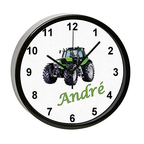 CreaDesign, WU-31-1104 Traktor, Kinder Wanduhr lautlos mit Namen personalisiert, Rahmen schwarz, Ø 19,5 cm