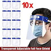 HOCOSY Face Protective Visor, 10 Pcs Plastic Adjustable Transparent Face Shield to Prevent Saliva, Droplet, Pollen and Dust