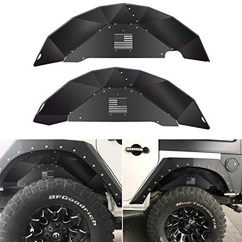 Price comparison product image Sunluway Rear Inner Fender Liners for Jeep Wrangler 2007-2018 JK JKU 4WD US Flag Logo Aluminum Lightweight Design Black Splash Guards