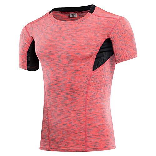 Belleashy Camiseta de compresión para hombre, manga corta, compresión, para deporte, para ciclismo, entrenamiento, entrenamiento, fitness, 5 colores (color: rojo, talla: L)