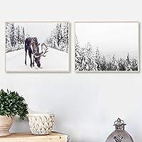 雪のムースポスター印刷雪の絵冬のキャンバス壁アートパネルリビングルームの素朴なクリスマス家の壁の装飾画像50x70cmx2フレームなし
