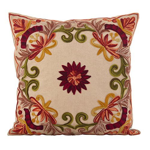 Check Out This SARO LIFESTYLE Alessandra Collection Embroidered Home Décor, Multi, 18