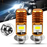HONLEEX 2pcs AC9-48V H6M LED Headlight Bulbs 1600Lumens High Power 2xCOB Chips P15D-1 Motorcycle LED Headlight Bulb with High Low Beam.Xenon White.6500K(Golden)
