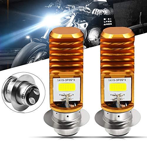 2pcs AC9-48V H6M LED Headlight Bulbs 1600Lumens High Power 2xCOB Chips P15D-1 Motorcycle LED Headlight Bulb with High Low Beam.Xenon White.6500K(Golden)