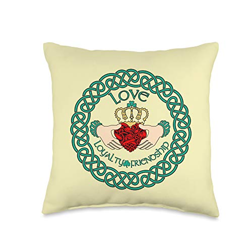 Irish T Shirt Emporium Irish Claddagh Ring Love Loyalty Friendship Celtic Pattern Throw Pillow, 16x16, Multicolor