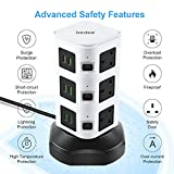Tower Extension Lead, bedee Plug Tower with 6 USB Slots, 9 Sockets & Wireless Charger, Vertical Multi Plug Power Strips with 2M Extension Cord, Surge Protector & Individual Switches, Black