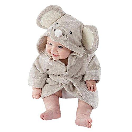 Beb albornoz de tiburn, AOLVO algodn suave beb toallas de bao de albornoz con capucha cute cartoon animal face para nios 036meses 1 Talla:M