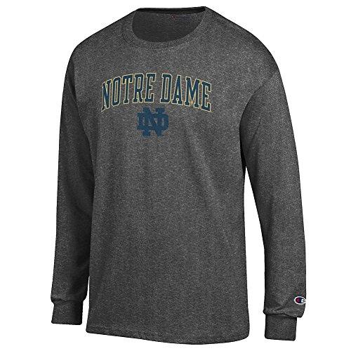 Elite Fan Shop Notre Dame Fighting Irish Long Sleeve Tshirt Charcoal - XX-Large