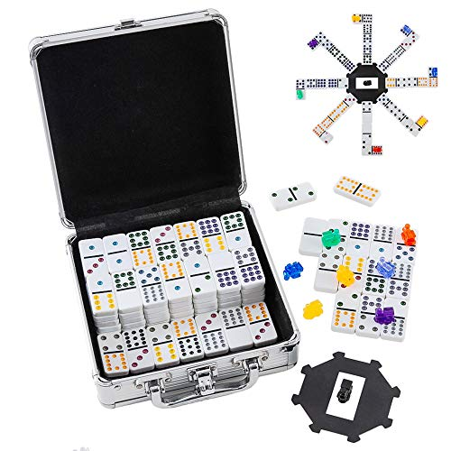 Homwom Mexican Train Dominoes Set - Double 12 Dominoes Set Color Dot Dominoes with Aluminum Case
