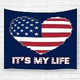 Leisure-Time Tapices Decoración Tapices Manta de Pared Arte Bandera Americana como símbolo en Forma de corazón Artesanía patriótica 60 'X80'