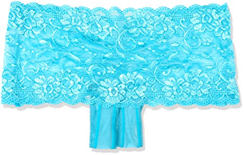 Shirley of Hollywood nummer 59 klein/medium turquoise stretch kant voorzijde open Panty
