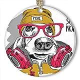 EaYanery Basset Hound Dog Gafas Rojas Sombrero Adornos de cerámica (redondos)...