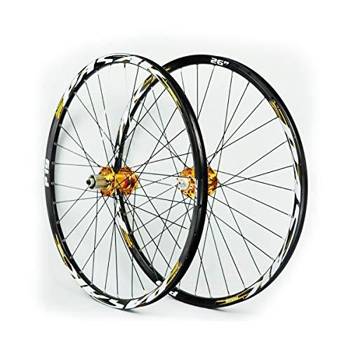LIDAUTO VTT Roue de Carbone Clincher Pneu 32-Hole Double Rim for Disc Brakes,Golden,29in