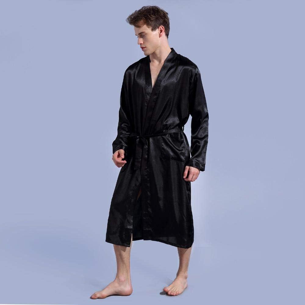 Men's Satin Robe With Belt Kimono Bathrobe Gown Nightgown Sleepwear Home Leisure Pajamas