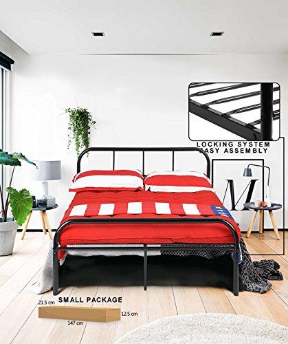 Cadre de lit double Coavas en métal 142x198 cm unisexe avec 10 pieds en métal et cadre de lit intégré - Noir