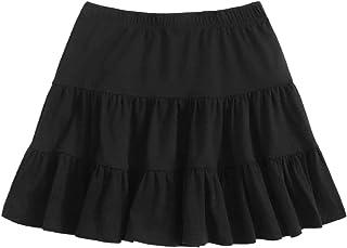 SheIn Women's Casual Summer Elastic Waist Solid Ruffle Hem Short Mini Skirt