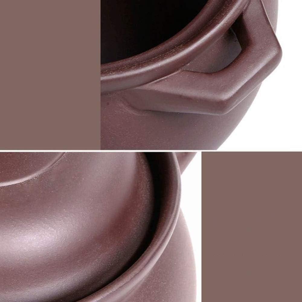 LIUSHI Casserole en Terre Cuite Casserole en Terre Cuite Casserole en céramique - Durable résistant au Froid et à la Chaleur Sûr et sain Capacité antiadhésive 5L_Brown Capacity 5l