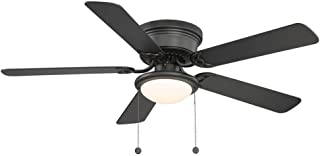 Hugger Low-Profile Flush Mount 52 In. Black Ceiling Fan With Frosted Glass Light