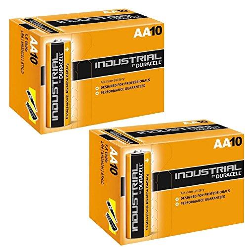 Duracell Industrial - Pilas alcalinas AA / LR6 (2 x 10 Unidades)
