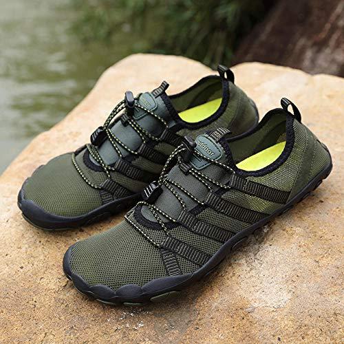 Zapatos de baño Descalzos,Zapatos de Agua con Tela Transpirable,Zapatos de vadeo de Talla Grande Antideslizantes Deportivos Zapatos de Playa de Buceo-Army Green_38
