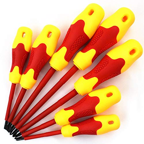 Screwdriver 'The Best' 8 Pcs Electricians Screwdriver Set Tool Electrical Insulated High Voltage Multi Screw Head Type 889 - (Color: 8 Pcs)