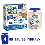 GoGo squeeZ YogurtZ, Blueberry, 3 Ounce (4 Pouches), Low Fat Yogurt, Gluten Free, Recloseable, BPA Free Pouches (Package May Vary)