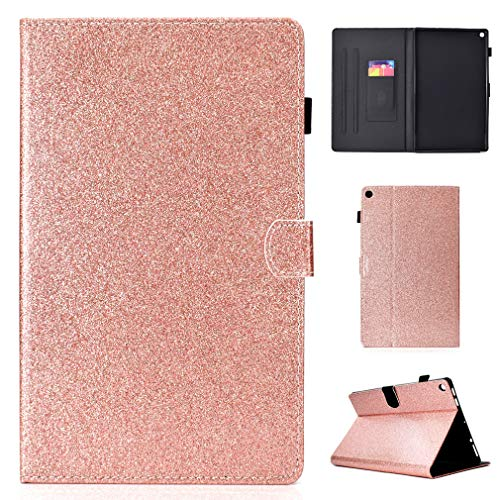 LMFULM Case for Amazon Fire HD 10 2015/2017 (10,1 Inch) PU Magnetic Cover Shining Case Sleep/Wake Function Stent Function Holster Leather Case Flip Cover for Amazon Fire HD 10 Rose Gold