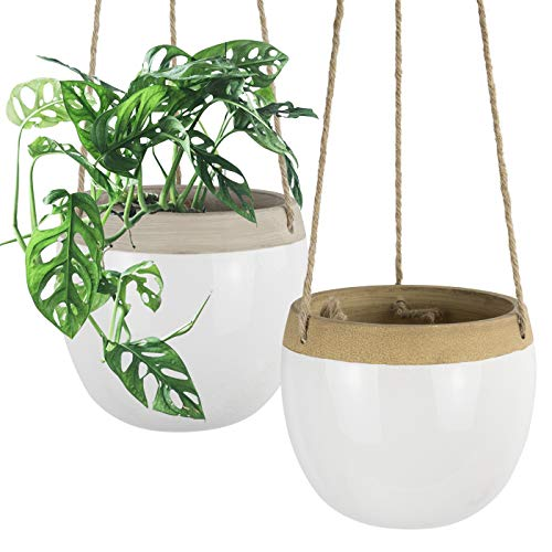 Macetas colgantes de cerámica para plantas, 14 cm, color blanco, para colgar en interiores, con cuerda de yute para plantas pequeñas de cactus, decoración del hogar, juego de 2