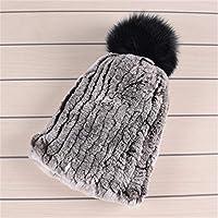 幸福 女性のための冬のフェイクファー帽子女性のキャップビーニー固体弾性冬のファッションアクセサリーフェイクファーポンポン帽子 D