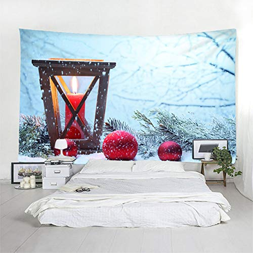 Daesar Christmas Wall Decor Tapestry, Tapestry Bedding Candle Lights and Christmas Balls Polyester Wall Tapestries Light Blue Red Wall Hangings Decor 102 x 90 Inch