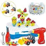 SYOSIN Mosaico Juguete Taladro 325 Pcs Puzzle 3D Juguetes Montessori Desmontar Juguetes educativos de Bloques de construcción Taladro de Juguetes para niños