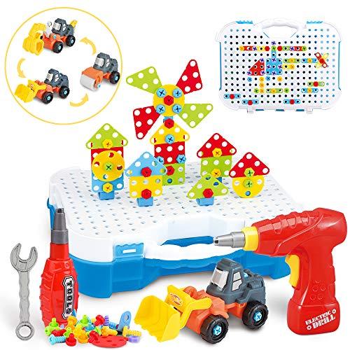 SYOSIN Trapano Puzzle da Costruzione Giocattoli - 325 Pezzi Kit Educativo Trapano Giocattolo Puzzle Creativo educativi Kit di Strumenti Blocchi di Costruzione capacità motorie per Bambini