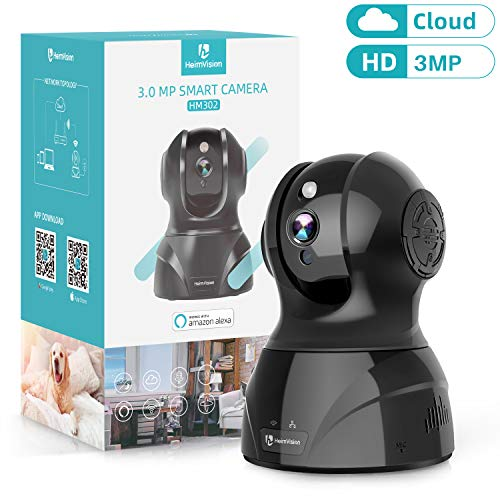 HeimVision 3MP Wireless Security Camera, HM302 Indoor WiFi Pet Camera, PTZ Home HD IP Camera for Baby/Nanny Monitor, Night Vision, 2 Way Audio, Motion/Face Dection, Cloud/SD Storage, Works with Alexa