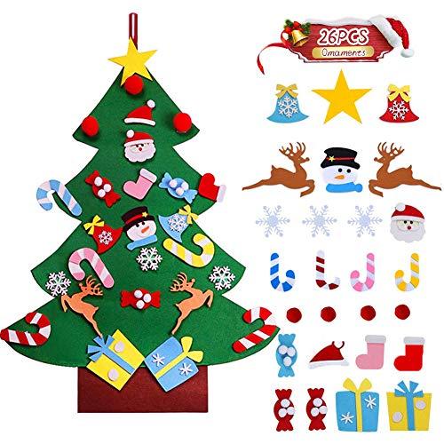 EAHUHO DIY Weihnachtsbaum, Filz Weihnachtsbaum mit 26 Abnehmbaren hängenden Ornamenten Wand Dekor Für Kinder Weihnachten Geschenk…