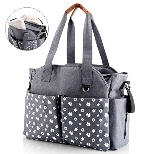 Baby Nappy Changing Tote Bag Satchel Messenger Travel Diaper Weekender Bag w/Pram Straps, 12 Pockets Large Storage Space for All Baby Accessories(Classic Grey)