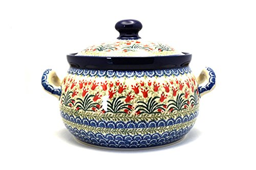 Polish Pottery Covered Tureen (without ladle slot) - Crimson Bells