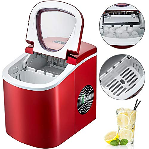 BuoQu 12kg Eiswürfelbereiter Eiswürfelmaschine Rot Kommerzielle Eismaschine Edelstahl 220V Ice Maker