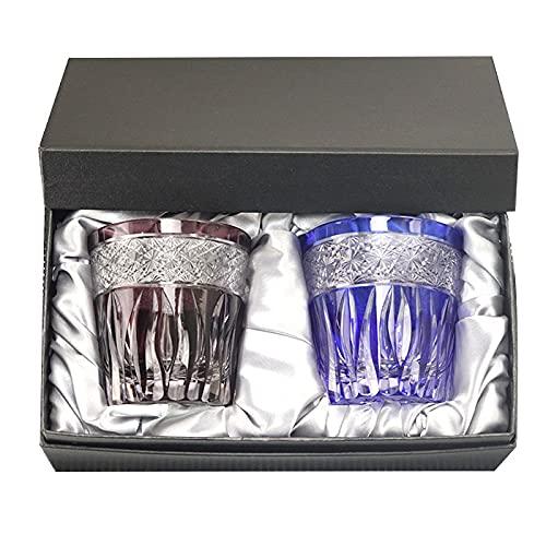 切子グラス ペア セット ガラス コップ 食洗機対応 オールド グラス タンブラー 夏 食器 ロックグラス シーカット プレゼント ギフト ギフトBOX付き 箱入り (ブルー×パープル)