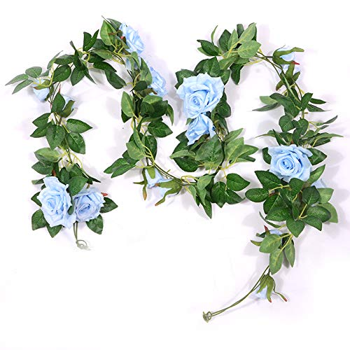 3Pack Artificial Rose Vine Flowers Plants, Fake Flowers Silk Rose Vines Garland Hanging Baskets Plants for Home Outdoor Wedding Arch Garden Wall Decor(Blue)